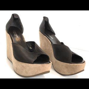Cordani Italian coca brown wedge sandal, Sz 40 new